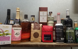Image of a Kombucha, coffee, beer, liquor, and wine supplied and delivered by Office Libations.