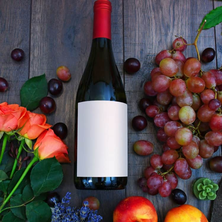 Image of wine and vegan products