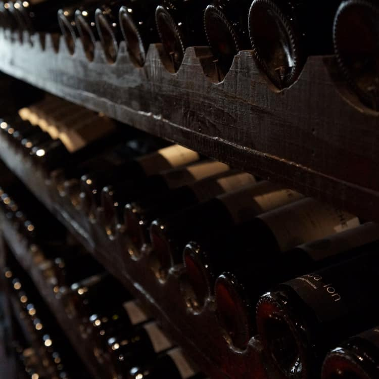 image of racked wine bottles