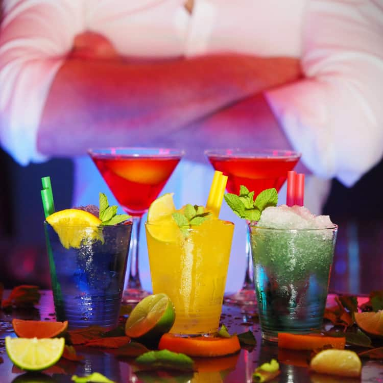 image of a bartender at a party
