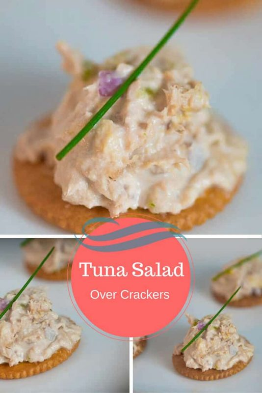 image of tuna on crackers as a healthy snack for work