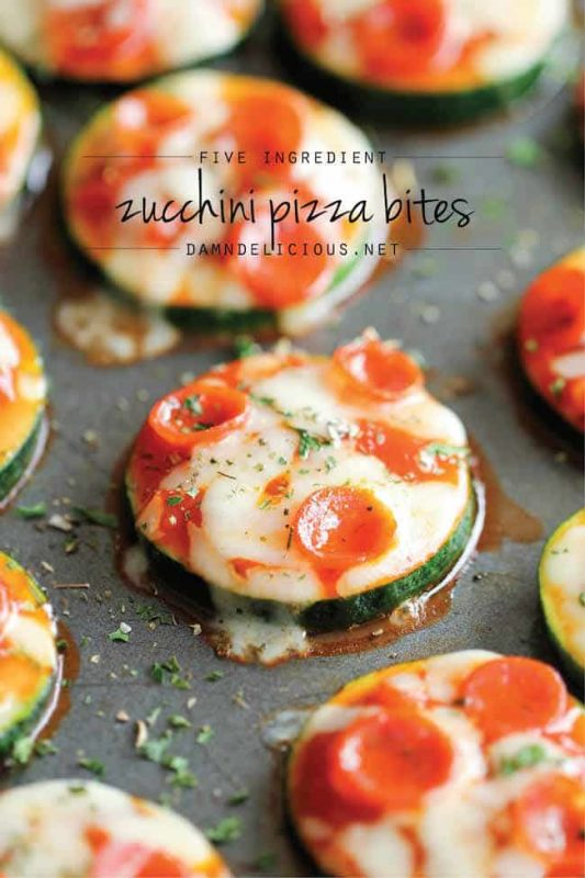 image of zucchini pizza bites as a healthy snack for work