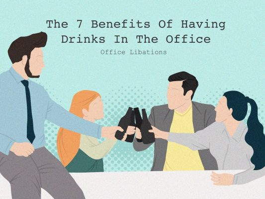 illustration of coworkers cheers-ing beers during an office happy hour
