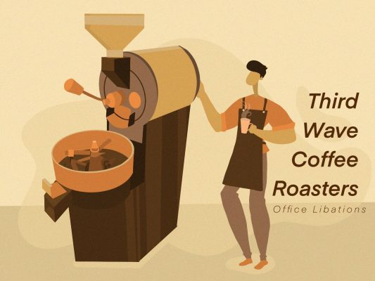 Illustrated cover image for article by Office Libations about Third Wave Coffee Roasters
