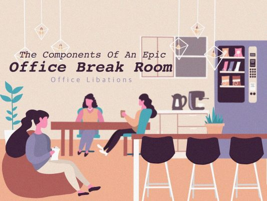 illustrated cover image for an article about how to make an epic office break room by Office Libations